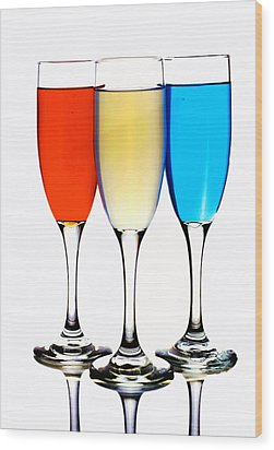 Glass Cups And Colorful Drinking Liquid Art Wood Print by Paul Ge