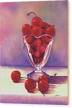 Glass Full Of Cherries Wood Print by Nan Wright