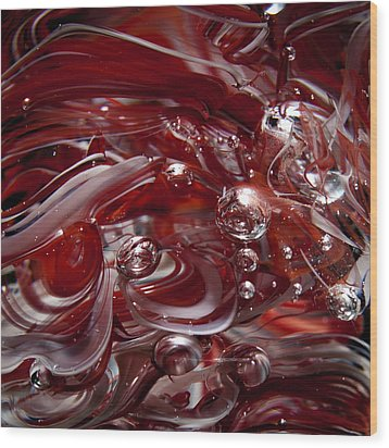 Glass Macro Abstract - Crimson And Gray Iv Wood Print by David Patterson