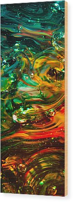 Glass Macro Abstract Ego1ce Wood Print by David Patterson