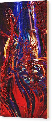 Glass Macro Abstract Flames Wood Print by David Patterson