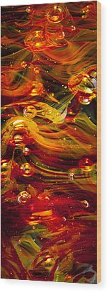 Glass Macro Abstract - Molten Fire Wood Print by David Patterson