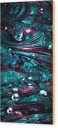 Glass Macro Abstract Rb3 Wood Print by David Patterson