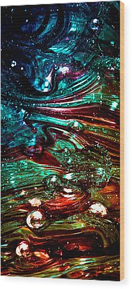 Glass Macro Abstract Rb3ce Wood Print by David Patterson