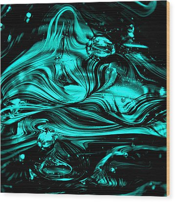 Glass Macro Abstract Rbwce2 Wood Print by David Patterson
