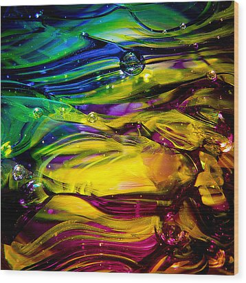 Glass Macro Abstract Rcy1 Wood Print by David Patterson