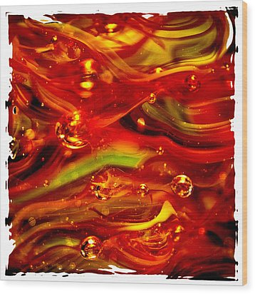 Glass Macro Abstract Rf1ce Wood Print by David Patterson