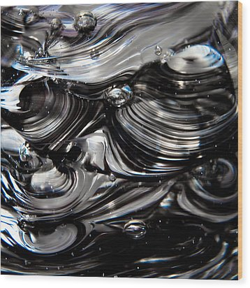 Glass Macro - Black And White Wood Print by David Patterson
