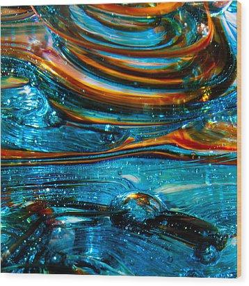 Glass Macro - Blue Swirls Wood Print by David Patterson