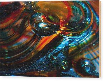 Glass Macro - Blues And Orange Wood Print by David Patterson