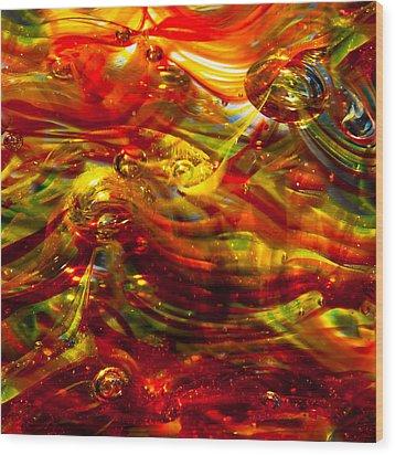 Glass Macro - Burning Embers Wood Print by David Patterson