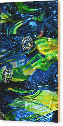 Glass Macro - Seahawks Blue And Green -13e4 Wood Print