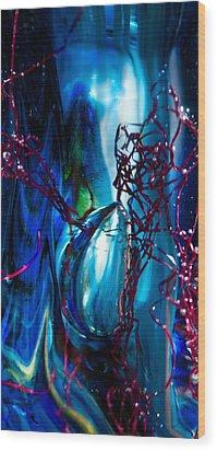 Glass Macro - The Blue Bubble Wood Print by David Patterson