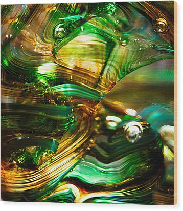 Glass Macro - Waves Of Amber Wood Print by David Patterson