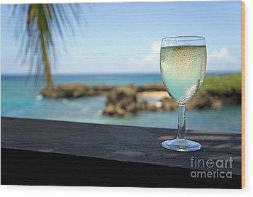 Glass Of Fresh Wine By Tropical Beach Wood Print by Sami Sarkis