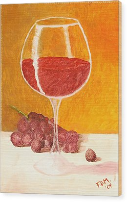 Glass Of Grapes Wood Print