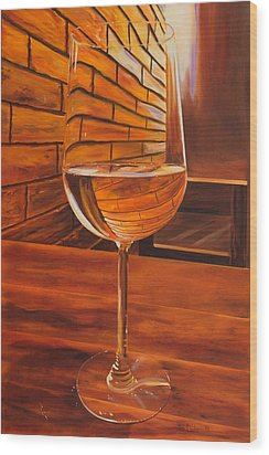 Glass Of Viognier Wood Print
