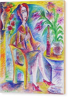 Glass Of Wine Wood Print by Milen Litchkov