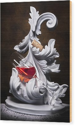 Glass Of Wine With Cork Still Life Wood Print by Tom Mc Nemar
