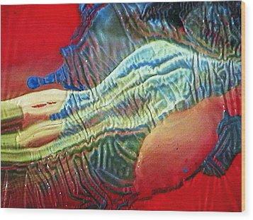 Glass Painting 23 Detail 1 Wood Print by Patrick Morgan