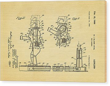 Glass Rock Em Sock Em Robots Toy Patent Art 3 1966 Wood Print by Ian Monk