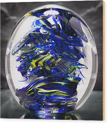 Glass Sculpture Cobalt Blue And Yellow - 13r2 Wood Print by David Patterson