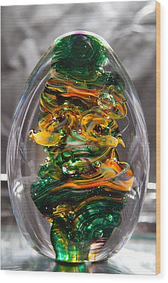 Glass Sculpture Go1  Wood Print by David Patterson