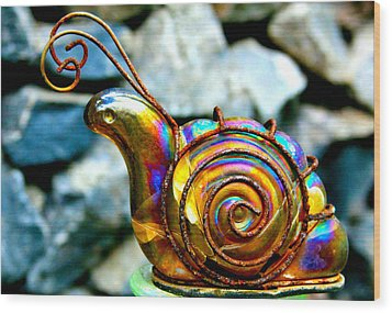 Glass Snail Garden Art Wood Print by Karon Melillo DeVega