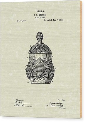 Glass Vessel 1895 Patent Art Wood Print by Prior Art Design