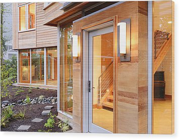 Glass Windows And Doors Of Modern House Wood Print by Will Austin