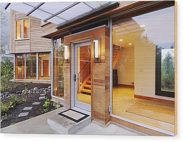 Glass Windows In Modern Home Wood Print by Will Austin