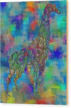 Glassed Giraffe Wood Print by Jack Zulli