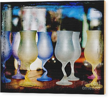 Glassware Wood Print by Bobbi Feasel