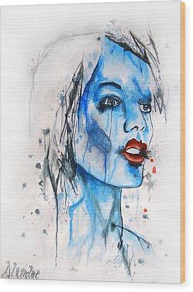 Glassy Girl Wood Print by Atinderpal Singh
