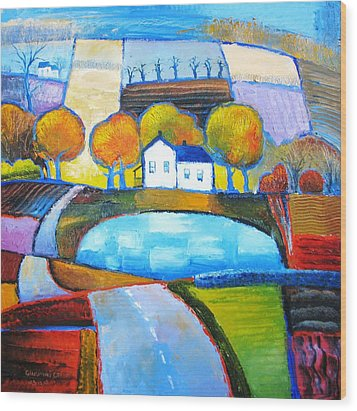 Glastonbury Farmhouse Wood Print