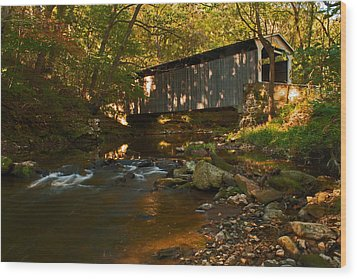 Glen Hope Covered Bridge Wood Print by Michael Porchik