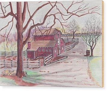 Glen Magna Animal Barn Wood Print