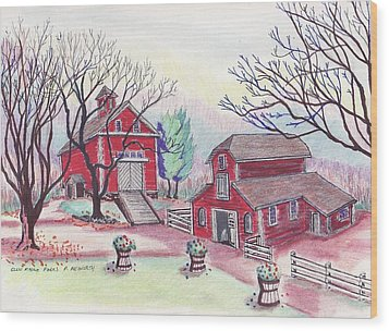 Glen Magna Farms - The Barns Wood Print by Paul Meinerth