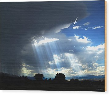 Glider Over Colorado Front Range Wood Print by Ric Soulen