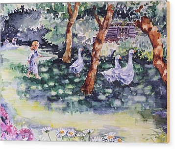 Wood Print featuring the painting Glimpse Into A Garden  by Trudi Doyle