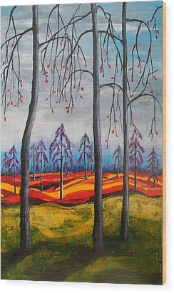 Glimpse Of Autumn Wood Print by Kathy Peltomaa Lewis