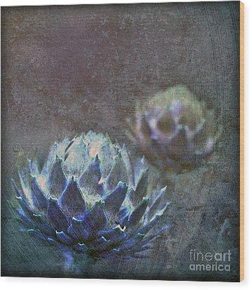 Globe Artichoke Wood Print by Liz  Alderdice