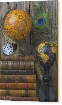 Globes And Old Books Wood Print by Garry Gay