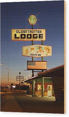 Globetrotter Lodge - Holbrook Wood Print by Mike McGlothlen