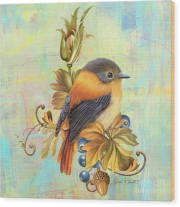 Glorious Birds On Aqua-a2 Wood Print by Jean Plout