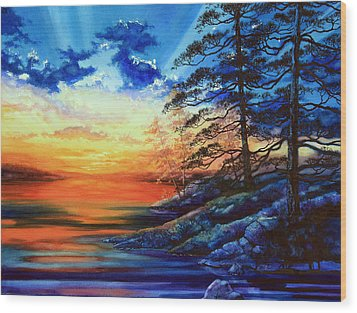 Glorious Lake Sunset Wood Print by Hanne Lore Koehler