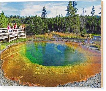 Glory Pool Yellowstone National Park Wood Print by Ausra Huntington nee Paulauskaite