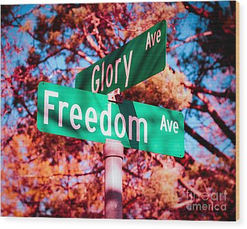 Glory Signs Wood Print by Sonja Quintero