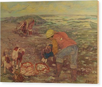 Wood Print featuring the painting Gloucester Clam Diggers by Beth Arroyo