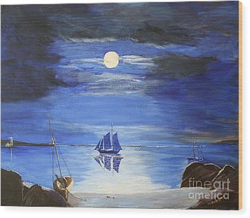 Gloucester Harbor By Moonlight Wood Print